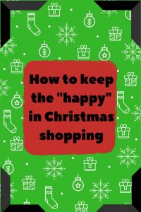 Christmas paper red square with How to keep the happy in Christmas shopping in red box, black frame