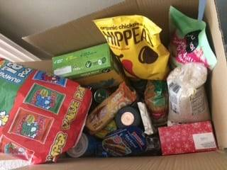 Day 22 foodbank box, cereal, crisps, biscuits, rice, tins etc