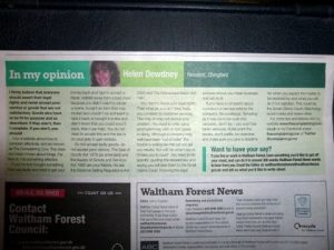 In My Opinion article published in Waltham Forest local authority paper