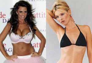 Katie Price and Kate Moss. Sublime to the ridiculous in terms of bras? Who would need the padding to get more clothes to fit properly?