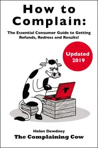 book Logo cartoon cow at a laptop of book cover. How to Complain: The Essential Consumer Guide to Getting Refunds, Redress and Results!