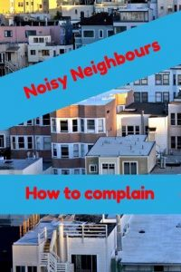 lots of houses text says noisy neighbours how to complain