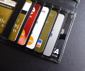 credit cards in a black wallet