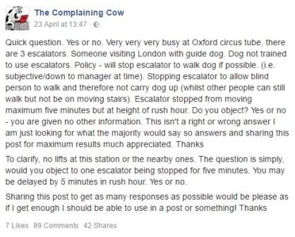 FB chat about discrimination on London Underground
