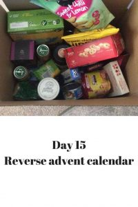 day 15 items for the foodbank, baby food, biscuits, broth, chocolates, tuna, mackrel, toothpaste etc