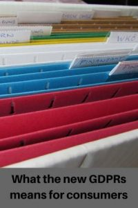 """Coloured files in cabinet with name labels text """"What the new GDPRs mean for consumers"""