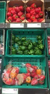 Red and green pepper 60p bags of peppers £1.17