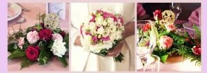 pink background strip 3 boxes variety of flowers boquets