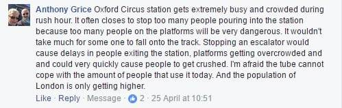 FB comment about the station being too busy so would be dangerous from overcrowding