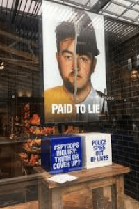 shop window paid to lie poster #spycops