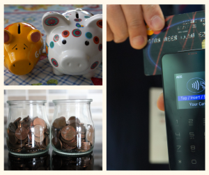 2 piggy banks,coins in two jars credit card and machine to pay