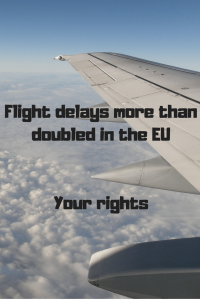 """aeroplane wing in sky """"Flight delays more than doubled in the EU. Your rights"""""""