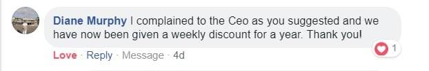 FB post - complained to CEO weekly discount for year