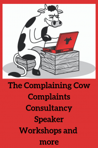 The Complaining Cow logo, complaints, consultancy, speaker, workshops and more