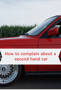 front of a red car grass in background how to complain about a second hand car
