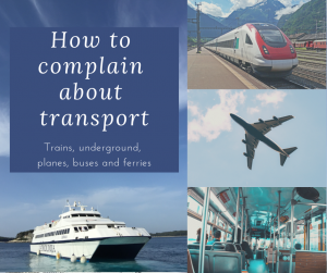 train, plane, inside bus ferry with caption how to complain about transport