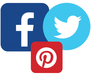 Facebook, Twitter and Pinterest logos