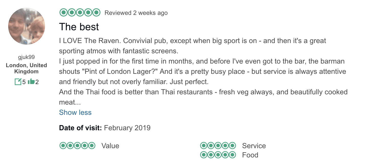 Good Trip Advisor review on a pub