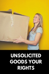 woman holding box unsolicited goods your rights