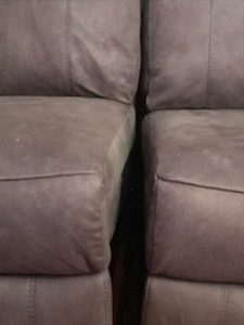 sofa showing huge gap in the middle between the two seats at the front