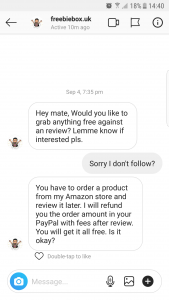 message asking Clare to undertake a revew in return for the product
