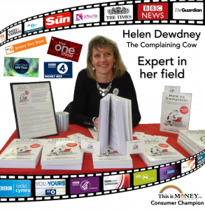 Helen behind books signing, film strip of tv, radio newspapers, logos