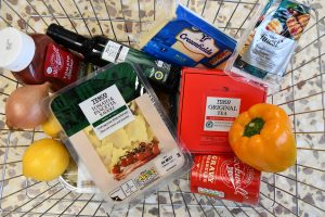 Tesco products in a basket