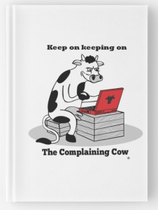 The Complaining Cow keep on keeping on with logo
